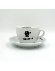 LOLLO Tazze da cappuccino Lylium con piattino in ceramica con logo Confezione da 6 Pezzi