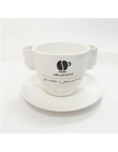 LOLLO Tazzone Porta Cialde e Accessori da banco in ceramica con Logo