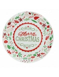 TOGNANA Piatto Panettone Merry Christmas diametro 30 cm