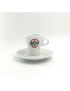 TODA Tazzine Caffe in ceramica con logo confezione da 6 complete di Piattino