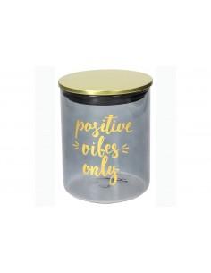 """TOGNANA Barattolo in vetro color Grigio """"Positive Vibes only"""" con coperchio colorato 750 cc"""""""