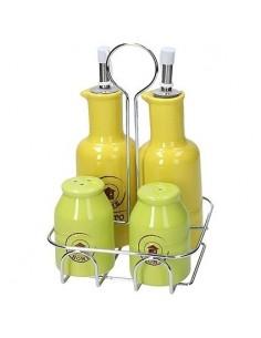 TOGNANA Menage Giallo e Verde Olio Aceto Sale Pepe Dolce Casa Rustic Color