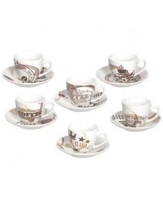 TOGNANA 6 Tazzine caffè con Piattino Linea Iris Moka 80 cc Confezione 6 Pezzi