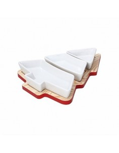 TOGNANA Tagliere in Legno Albero di Natale con 3 ciotole in ceramica bianca