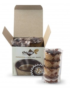 Chocup Medium Cartone 6 Astucci 12 bicchieri Wafer ricoperti Cioccolato Fondente da 120 gr