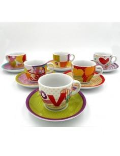 TOGNANA YAZZINE CAFFE IRIS LOVE Confezione 6 tazzine con piattino