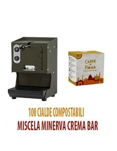 MACCHINA CAFFE AROMA MIA VERDE MILITARE + 100 Cialde Caffe di Roma MINERVA CREMA BAR