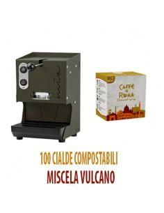 MACCHINA CAFFE AROMA MIA VERDE MILITARE + 100 Cialde Caffe di Roma VULCANO