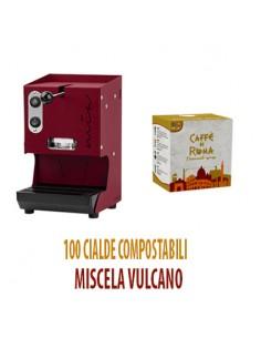 MACCHINA CAFFE AROMA MIA ROSSO PORPORA + 100 Cialde Caffe di Roma VULCANO