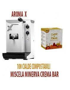 MACCHINA CAFFE AROMA X BIANCA + 100 Cialde Caffe di Roma MINERVA CREMA BAR