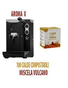 MACCHINA CAFFE AROMA X NERA + 100 Cialde Caffe di Roma VULCANO