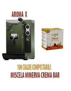 MACCHINA CAFFE AROMA X VERDE MILITARE + 100 Cialde Caffe di Roma MINERVA CREMA BAR