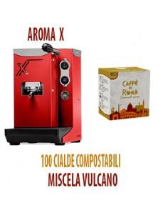 MACCHINA CAFFE AROMA X ROSSA + 100 Cialde Caffe di Roma VULCANO