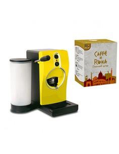 GRIMAC Macchina Caffe cialde TUBE GIALLA + 100 Cialde MINERVA Caffe di Roma