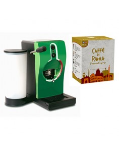 GRIMAC Macchina Caffe cialde TUBE VERDE + 100 Cialde MINERVA Caffe di Roma