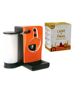 GRIMAC Macchina Caffe cialde TUBE ARANCIONE + 100 Cialde MINERVA Caffe di Roma